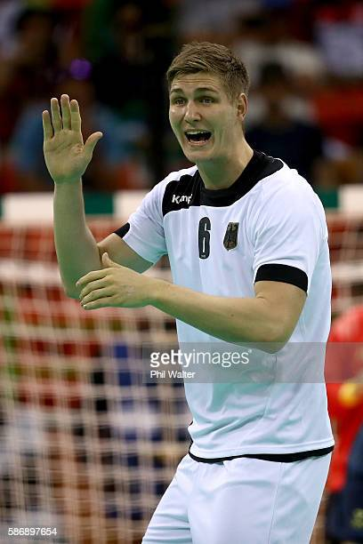 Finn Lemke of Germany gestures during the Men's Preliminary Group B match between Sweden and Germany at on Day 2 of the Rio 2016 Olympic Games at the...
