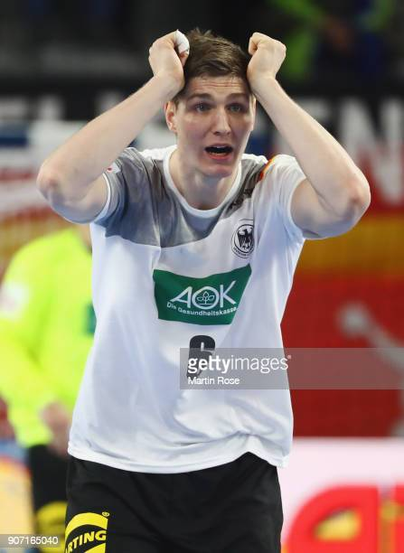 Finn Lemke of Germany reacts during the Men's Handball European Championship main round group 2 match between Germany and Czech Republic at Varazdin...