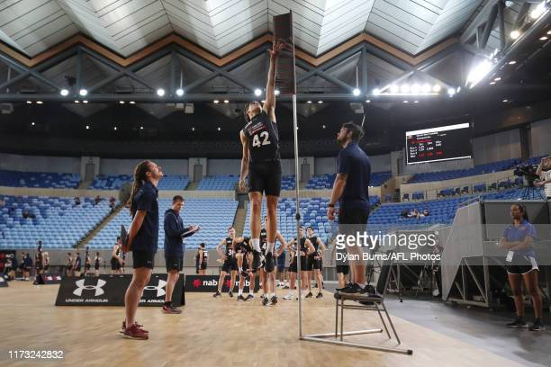 Finn Maginness completes the running vertical jump during the 2019 AFL Draft Combine at Margaret Court Arena on October 03 2019 in Melbourne Australia