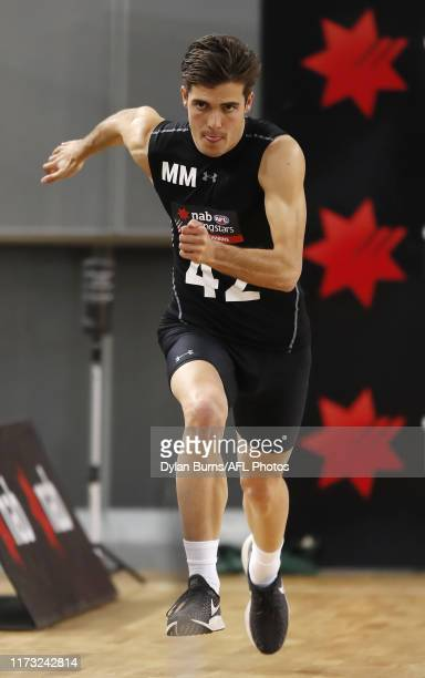 Finn Maginness completes the sprint test during the 2019 AFL Draft Combine at Margaret Court Arena on October 03 2019 in Melbourne Australia