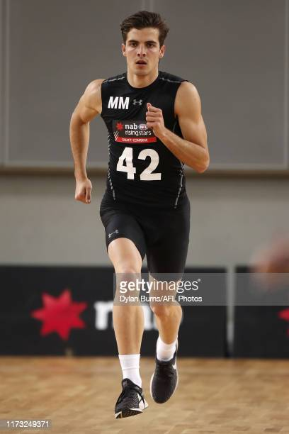 Finn Maginness completes the yoyo test during the 2019 AFL Draft Combine at Margaret Court Arena on October 03 2019 in Melbourne Australia