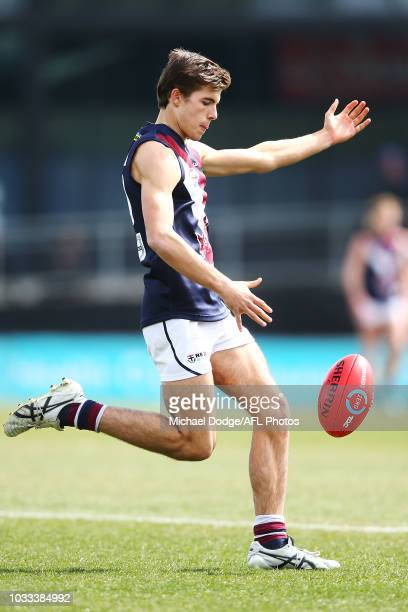 Finn Maginness of the Dragons kicks the ball during the TAC Cup Preliminary Final match between Dandenong and Sandringham at Ikon Park on September...