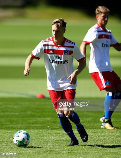 Finn Porath controls the ball during a training session of Hamburger SV at Volksparkstadion on July 9 2017 in Hamburg Germany