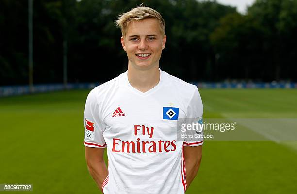 Finn Porath of Hamburger SV poses during the Hamburger SV Team Presentation at Volksparkstadion on July 25 2016 in Hamburg Germany