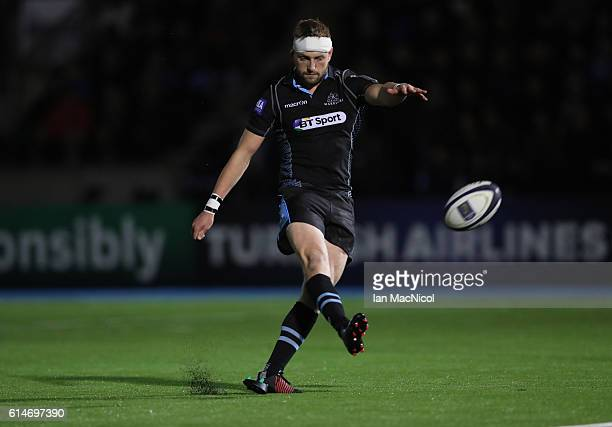 Finn Russell of Glasgow kicks a conversion during the European Rugby Champions Cup match between Glasgow Warriors and Leicester Tigers at Scotstoun...