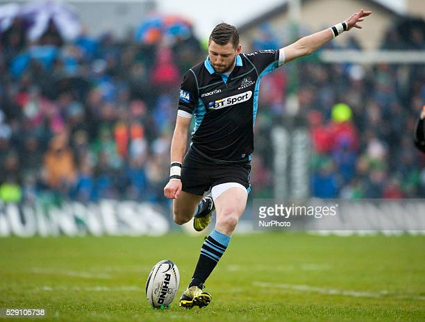 Finn Russell of Glasgow kicks the ball during the Guinness PRO12 rugby match between Connacht Rugby and Glasgow Warriors at the Sportsground in...