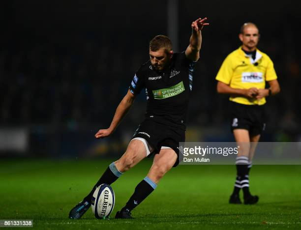 Finn Russell of Glasgow Warriors kicks a conversion during the European Rugby Champions Cup Pool 3 match between Exeter Chiefs and Glasgow Warriors...