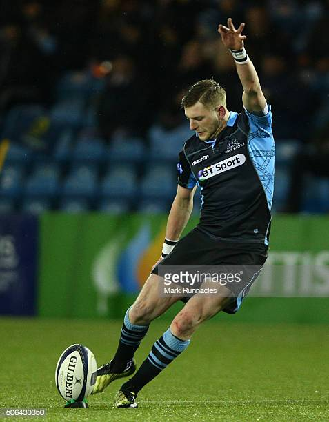 Finn Russell of Glasgow Warriors kicks a penalty from distance in the second half during the European Rugby Champions Cup pool 3 match between...