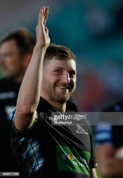 Finn Russell of Glasgow Warriors waves at full time during the Guinness Pro14 Semi Final match between Glasgow Warriors and Scarlets at Scotstoun...