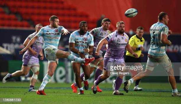 Finn Russell of Racing 92 kicks the ball upfield during the Heineken Champions Cup Final match between Exeter Chiefs and Racing 92 at Ashton Gate on...