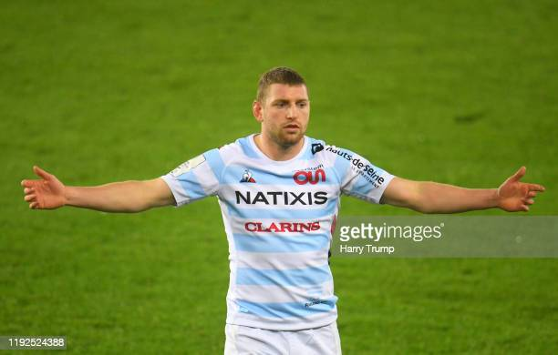 Finn Russell of Racing 92 reacts during the Heineken Champions Cup Round 3 match between Ospreys and Racing 92 at Liberty Stadium on December 07,...