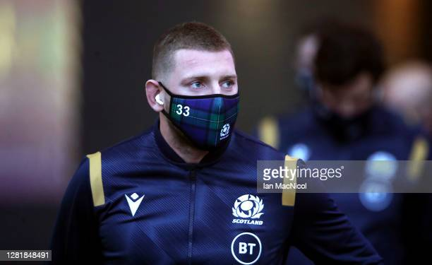Finn Russell of Scotland arrives prior to the warm up match between Scotland and Georgia ahead of the Six Nations tournament at Murrayfield Stadium...