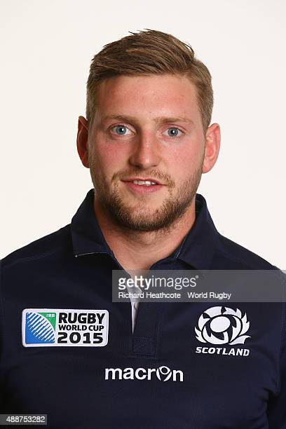 Finn Russell of Scotland during the Scotland Rugby World Cup 2015 squad photo call at the Hilton Puckrup Hall Hotel on September 17 2015 in...