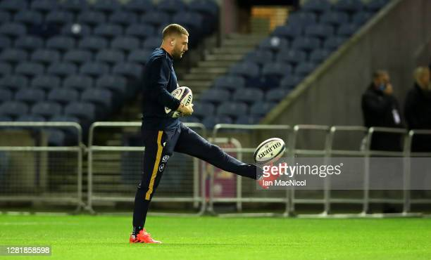 Finn Russell of Scotland warms up prior to the warm up match between Scotland and Georgia ahead of the Six Nations tournament at Murrayfield Stadium...