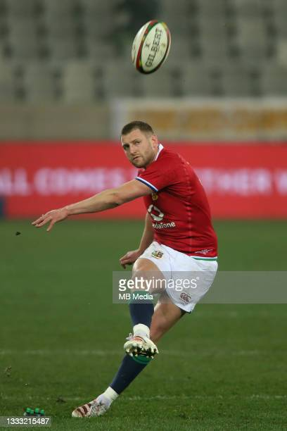 Finn Russell of the British & Irish Lions kicks a penalty during the 3rd Test between South Africa and the British & Irish Lions at FNB Stadium on...