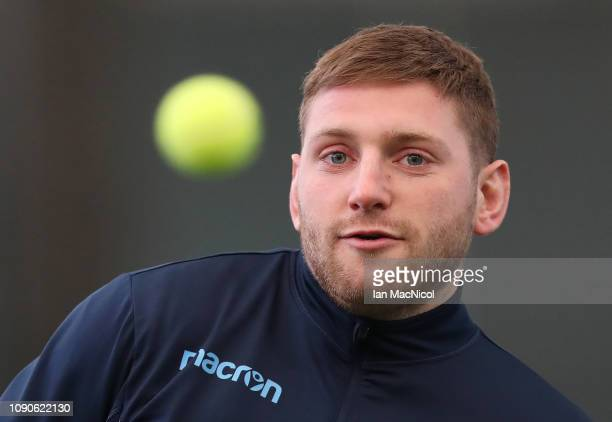 Finn Russell takes part in a training session prior to the Guiness Six Nations at the Oriam on January 28, 2019 in Edinburgh, Scotland.