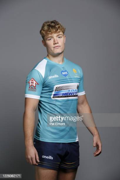 Finn Smith poses for a portrait during the Worcester Warriors squad photo call for the 202021 Gallagher Premiership Rugby season on on October 28...