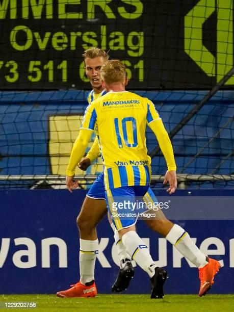 Finn Stokers of RKC Waalwijk celebrates 1-1 with Richard van der Venne of RKC Waalwijk during the Dutch Eredivisie match between RKC Waalwijk v PEC...