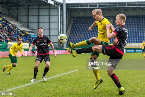 Finn Stokkers of Fortuna Sittard Robert van Koesveld of Helmond Sport during the Jupiler League match between Fortuna Sittard and Helmond Sport at...