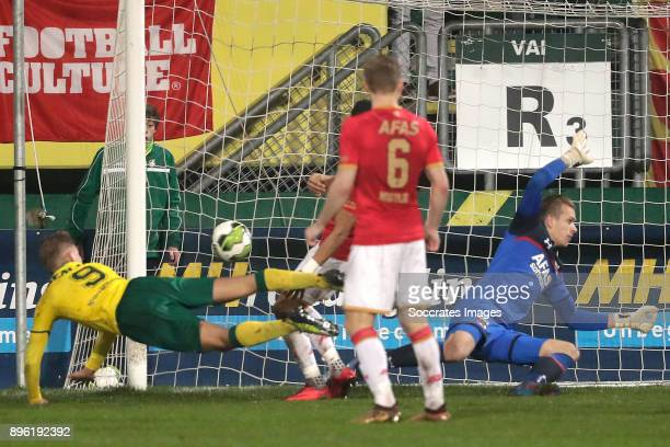 Finn Stokkers of Fortuna Sittard scores the third goal to make it 21 during the Dutch KNVB Beker match between Fortuna Sittard v AZ Alkmaar at the...