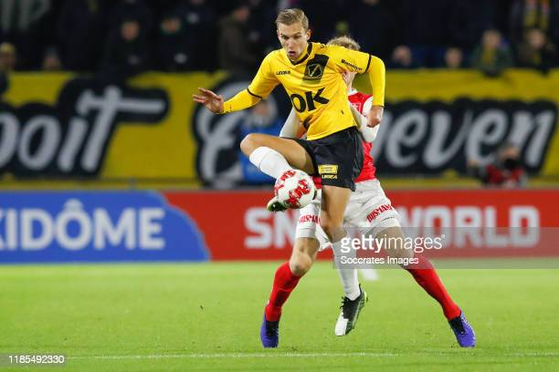 Finn Stokkers of NAC Breda, Enes Mahmutovic of MVV during the Dutch Keuken Kampioen Divisie match between NAC Breda v MVV Maastricht at the Rat...
