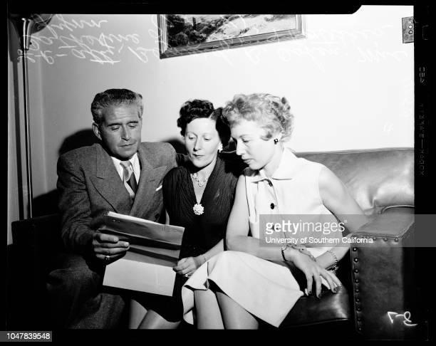 Finn twins, 01 July 1954. Mrs Catherine L Peter ;Patricia Lynn ;Attorney Bernard B Cohen.;Caption slip reads: 'Photographer: Mack. Date: . Reporter:...