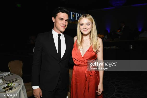 Finn Wittrock and Dakota Fanning attend the Hollywood Foreign Press Association's Grants Banquet at The Beverly Hilton Hotel on August 9 2018 in...
