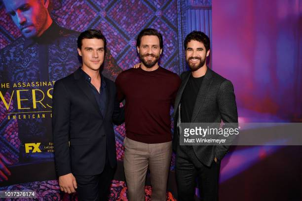 Darren Criss and Mia Swier attend the panel and photo call for FX's 'The Assassination of Gianni Versace American Crime Story' at Los Angeles County...