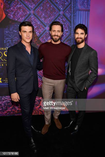 Finn Wittrock Edgar Ramirez and Darren Criss attend the panel and photo call for FX's The Assassination of Gianni Versace American Crime Story at Los...