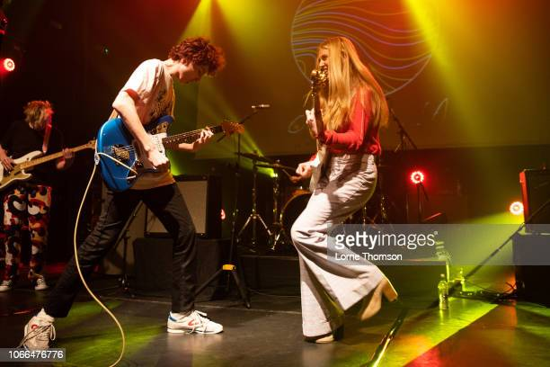Finn Wolfhard and Ayla Tesler-Mabe of Calpurnia perform at KOKO on November 29, 2018 in London, England.