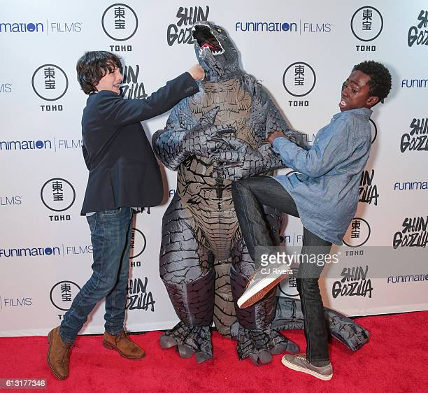 Finn Wolfhard and Caleb McLaughlin of 'Stranger Things' attend 'Shin Godzilla' New York Comic Con Premiere on October 5 2016 in New York City