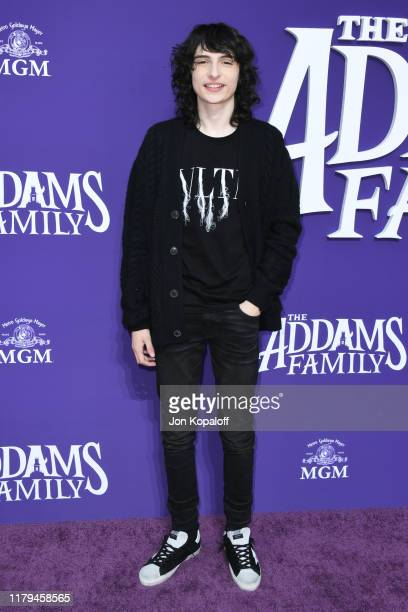 Finn Wolfhard attends the premiere of MGM's The Addams Family at Westfield Century City AMC on October 06 2019 in Los Angeles California