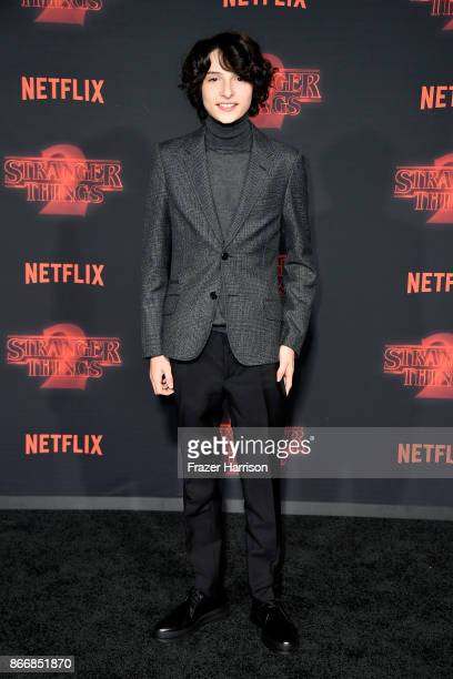 Finn Wolfhard attends the premiere of Netflix's 'Stranger Things' Season 2 at Regency Bruin Theatre on October 26 2017 in Los Angeles California