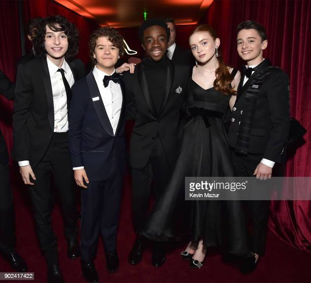 Finn Wolfhard Gaten Matarazzo Caleb McLaughlin Sadie Sink and Noah Schnapp attend the Netflix Golden Globes after party at Waldorf Astoria Beverly...