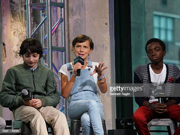 Finn Wolfhard Millie Bobby Brown and Caleb McLaughlin attend BUILD Series at AOL HQ on August 31 2016 in New York City