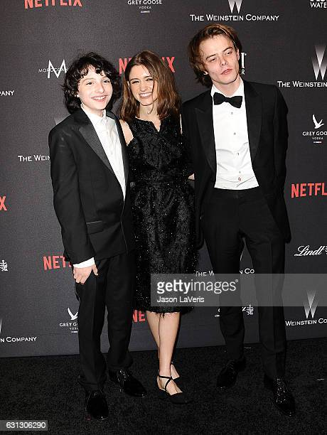 Finn Wolfhard Natalia Dyer and Charlie Heaton attend the 2017 Weinstein Company and Netflix Golden Globes after party on January 8 2017 in Los...