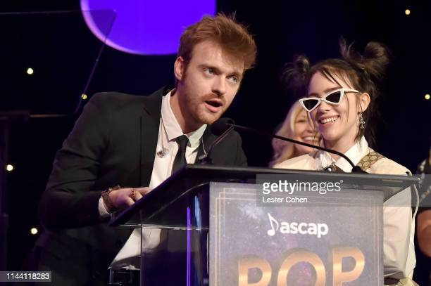 Finneas and Billie Eilish speak onstage during the ASCAP 2019 Pop Music Awards at The Beverly Hilton Hotel on May 16 2019 in Beverly Hills California