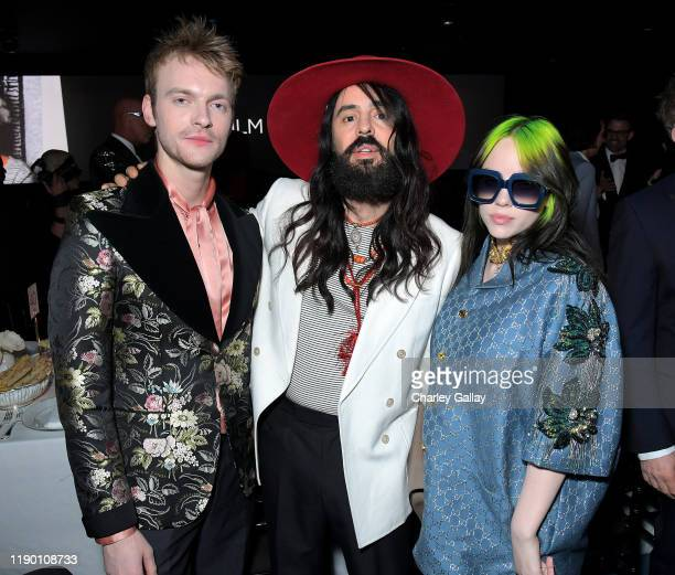 Finneas O'Connell Alessandro Michele and Billie Eilish all wearing Gucci attend the 2019 LACMA Art Film Gala Presented By Gucci at LACMA on November...