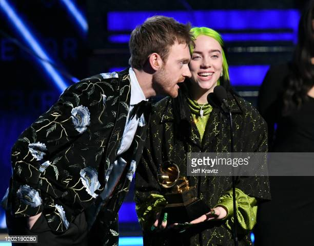 Finneas O'Connell and Billie Eilish accept Album of the Year for When We All Fall Asleep Where Do We Go onstage during the 62nd Annual GRAMMY Awards...