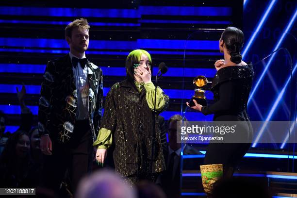 Finneas O'Connell and Billie Eilish accept the Record Of The Year award for Bad Guy onstage during the 62nd Annual GRAMMY Awards at Staples Center on...