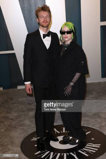 Finneas O'Connell and Billie Eilish attend the 2020 Vanity Fair Oscar Party at Wallis Annenberg Center for the Performing Arts on February 09 2020 in...