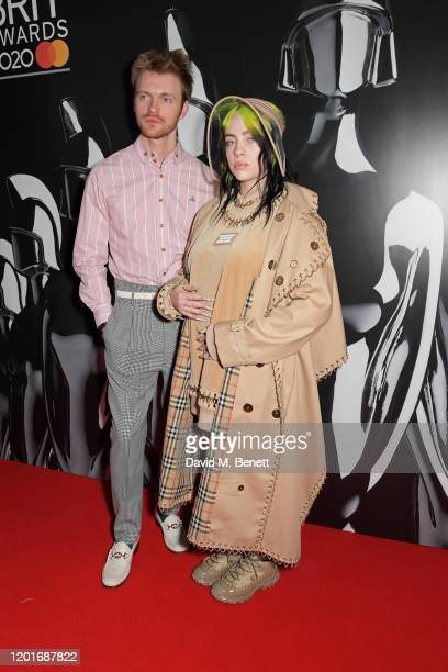 Finneas O'Connell and Billie Eilish attend The BRIT Awards 2020 at The O2 Arena on February 18, 2020 in London, England.