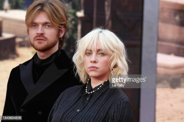 """Finneas O'Connell and Billie Eilish attend the """"No Time To Die"""" World Premiere at Royal Albert Hall on September 28, 2021 in London, England."""
