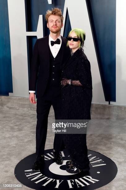 Finneas O'Connell and Billie Eilish attend the Vanity Fair Oscar Party at Wallis Annenberg Center for the Performing Arts on February 09 2020 in...