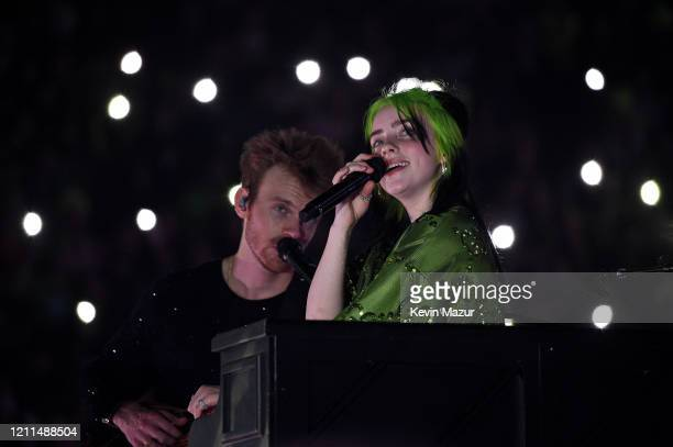 Finneas O'Connell and Billie Eilish perform live on stage at Billie Eilish Where Do We Go World Tour Kick Off Miami at American Airlines Arena on...