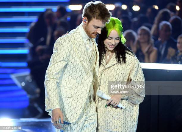 Finneas O'Connell and Billie Eilish perform onstage during the 62nd Annual GRAMMY Awards at STAPLES Center on January 26 2020 in Los Angeles...