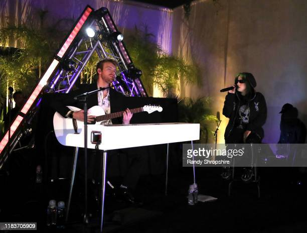 Finneas O'Connell and Billie Eilish perform onstage during the 7th Annual UNICEF Masquerade Ball 2019 at Kimpton La Peer Hotel on October 26 2019 in...