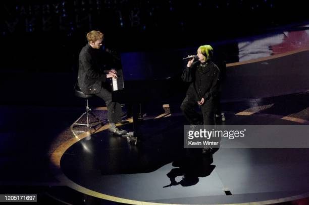 Finneas O'Connell and Billie Eilish perform onstage during the 92nd Annual Academy Awards at Dolby Theatre on February 09 2020 in Hollywood California