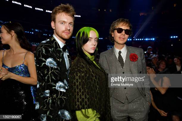 Finneas O'Connell, Billie Eilish, and Beck attend the 62nd Annual GRAMMY Awards at STAPLES Center on January 26, 2020 in Los Angeles, California.