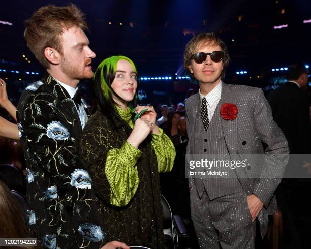 Finneas O'Connell Billie Eilish and Beck attend the 62nd Annual GRAMMY Awards at STAPLES Center on January 26 2020 in Los Angeles California